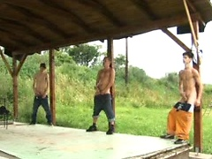 Four hot guys jerk off together until they shoot huge loads, Added: 2012-05-01, Duration: 2:00
